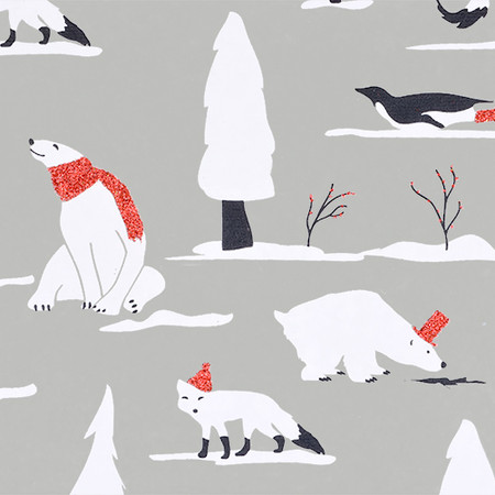 Gift Wrap - Snow Animals - Oyster/Black, White and Red Glitter