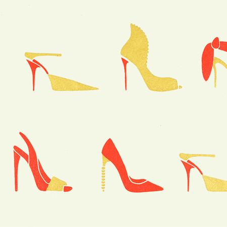 Gift Wrap - Stilettos - Cream/Red and Gold Metallic