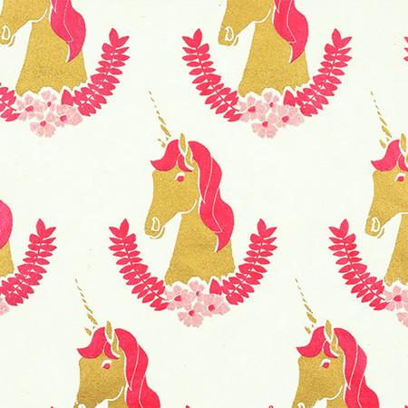 Gift Wrap - Unicorn - Cream/Pink and Gold Metallic