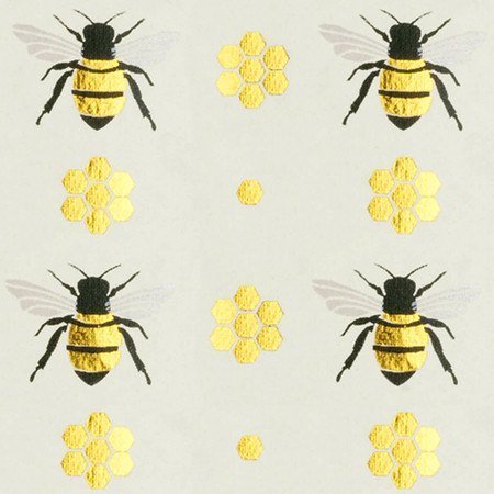 Gift Wrap - Honey Bee - Cream/Metallic Gold and Black