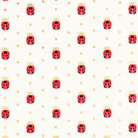 Gift Wrap - Ladybugs - Cream/Red