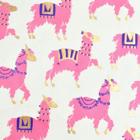 Gift Wrap - Llamas - Cream/Pink