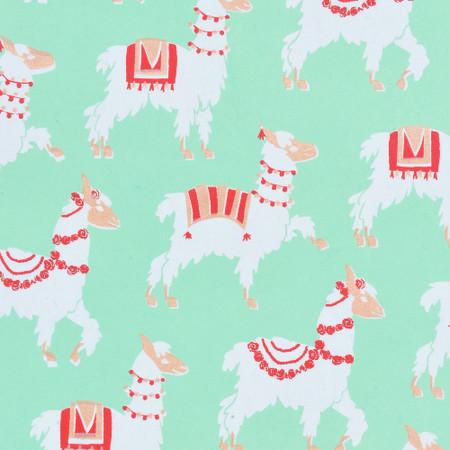 Gift Wrap - Llamas - Mint Green/White