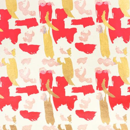 Brushstrokes - Cream, Pink/Red/Gold Metallic