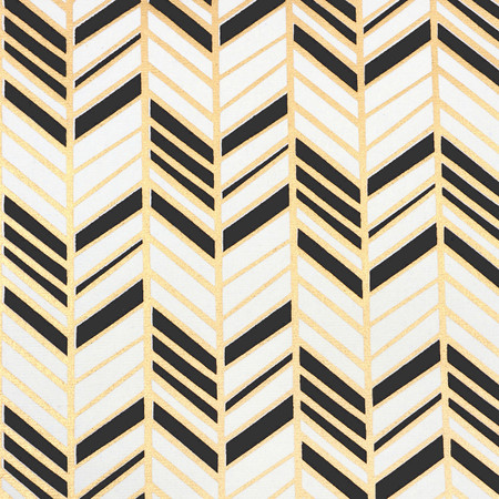 Chevron: Cream, Gold and Black Metallic