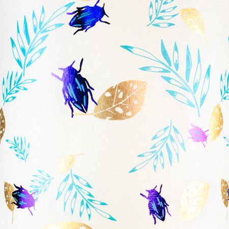 Beetle - Cream/Teal/Gold Metallic & Violet Foil