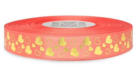 Metallic Gold Ink Hearts on Coral Ribbon - Double Faced Satin Symbols