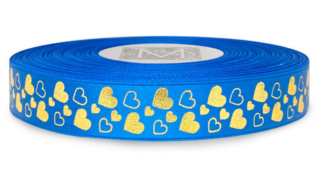 Metallic Gold Ink Hearts on Cerulean Ribbon - Double Faced Satin Symbols