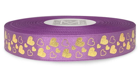 Metallic Gold Ink Hearts on Viola Ribbon - Double Faced Satin Symbols