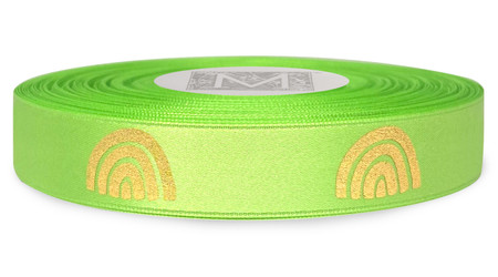 Metallic Gold Ink Rainbow on Kaffir Ribbon - Double Faced Satin Symbols