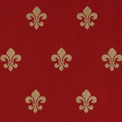 Gift Wrap - Fleur de Lis - Red