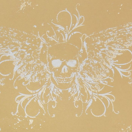 Gift Wrap - Skull Wings - Tan
