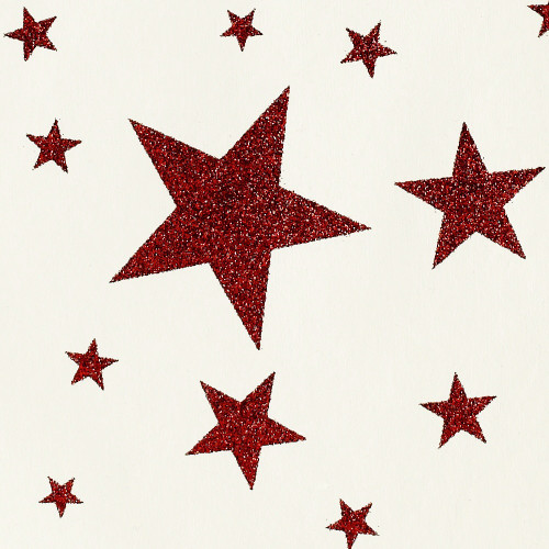Gift Wrap - Stars - Red Glitter on Cream