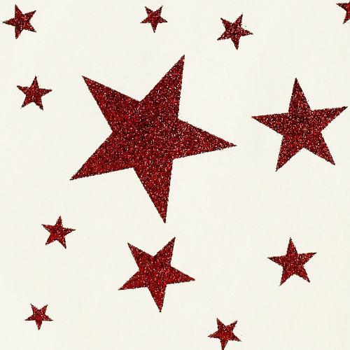 Gift Wrap - Stars - Red Glitter on Cream