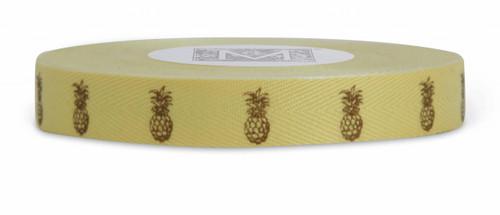 Symbols on Herringbone Ribbon - Brown ink Pineapple on Sunshine