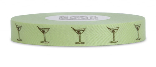 Symbols on Herringbone - Brown ink Martini Glass on Passion Fruit