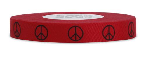 Symbols on Herringbone - Black ink Peace on Red