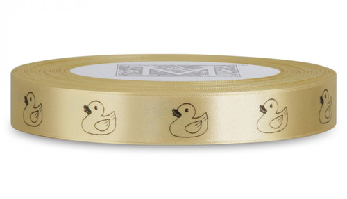 Double Faced Satin Symbols - Black ink Ducky on Maize