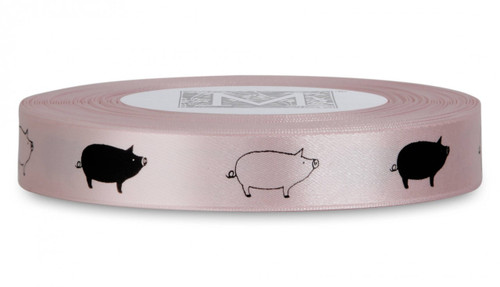Double Faced Satin Symbols - Black ink Pig on Cherry