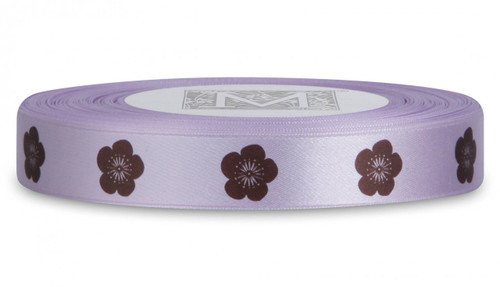 Double Faced Satin Symbols - Brown ink Cherry Blossom on Verbena
