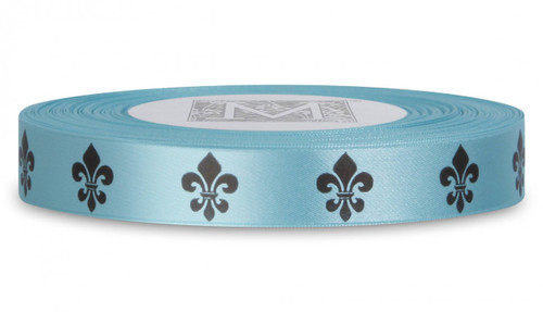 Double Faced Satin Symbols - Black ink Fleur De Lis on Aquamarine