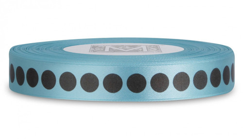 Double Faced Satin Ribbon Symbols - Brown ink Dots on Aquamarine