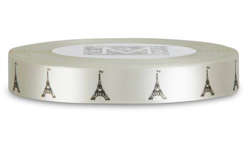 Double Faced Satin Symbols - Black ink Eiffel Tower on Bone