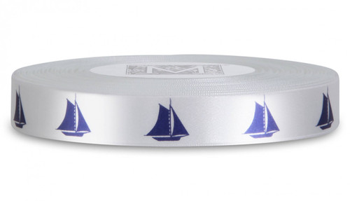 Navy Yacht on Alabaster Ribbon - Double Faced Satin Symbols