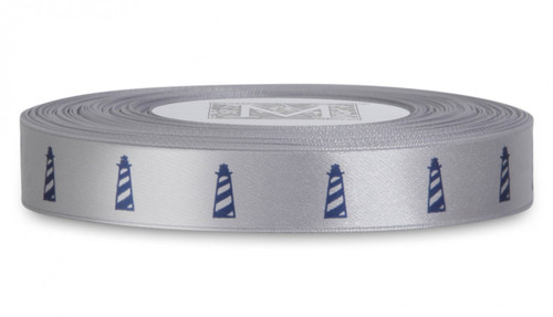 Navy ink Lighthouse on Sterling Ribbon - Double Faced Satin Symbols