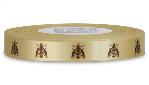 Double Faced Satin Symbols - Brown ink Bees on Maize