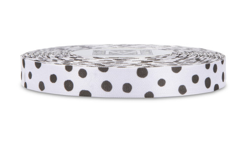 Black Polka Dots on White Rayon Trimming Ribbon