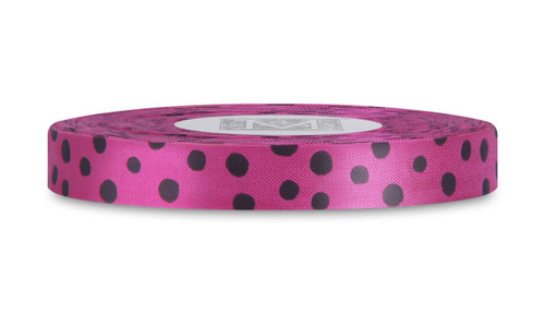 Black Polka Dots on Lipstick Rayon Trimming Ribbon