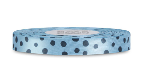 Black Polka Dots on Aqua Rayon Trimming Ribbon