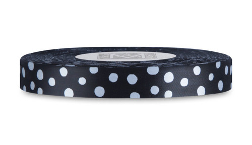 White Polka Dots on Black Rayon Trimming Ribbon