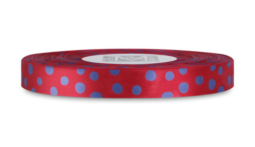 Blue Polka Dots on True Red Rayon Trimming Ribbon