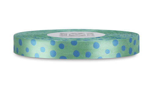 Blue Polka Dots on Lemongrass Rayon Trimming Ribbon