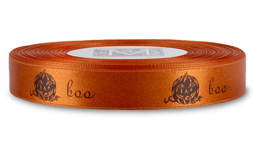 Black ink Boo on Mandarin Ribbon - Double Faced Satin Symbols