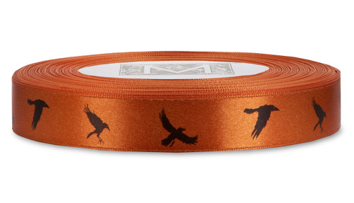 Black ink Crows on Mandarin Ribbon - Double Faced Satin Symbols
