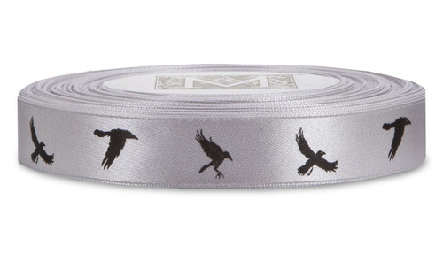 Black ink Crows on Sterling Ribbon - Double Faced Satin Symbols
