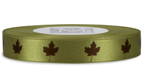Brown Leaf on Fig Ribbon - Double Faced Satin Symbols