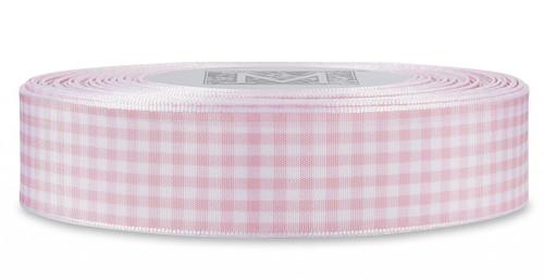 Checked Taffeta Ribbon - White/Pink