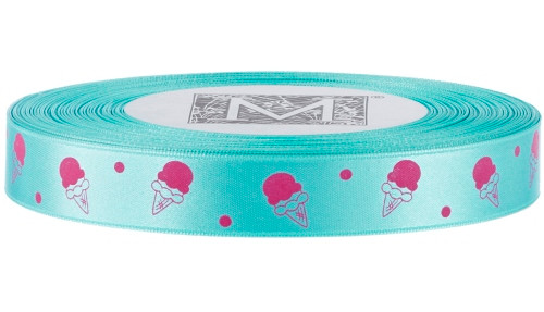 Pink Ice Cream on Aquamarine Ribbon - Double Faced Satin Symbols