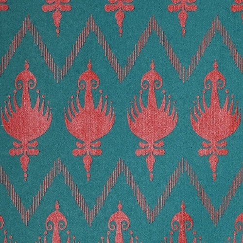Gift Wrap - Ikat - Viridian/Red