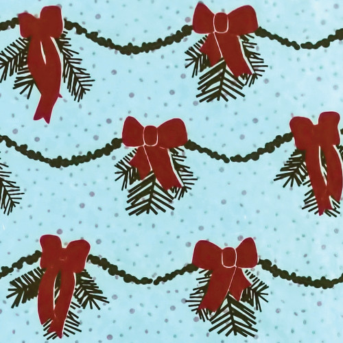 Gift Wrap - Garland - Ice Blue/Dark Green/Red