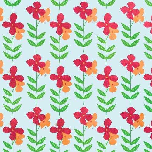 Gift Wrap - Flower Power - Mint Green/Orange/Red