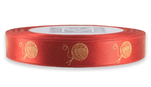 White Gold Yarn on Venetian Red Ribbon - Double Faced Satin Symbols