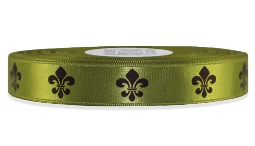Brown Fleur De Lis on Fig Ribbon - Double Faced Satin Symbols