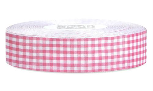 Checked Taffeta Ribbon - White/Fuchsia