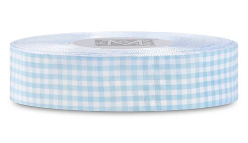 Checked Taffeta Ribbon - White/Blue