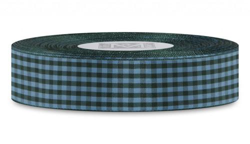 Checked Taffeta Ribbon - Green/Blue